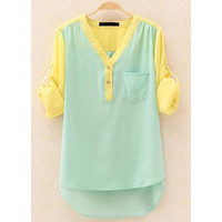A 081906 OL temperament long-sleeved shirt contrast color chiffon shirt