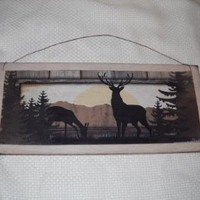 Deer Silouette in Forest Wooden Wall Art Sign Lodge Cabin Camper Lake House Decor Hunting *