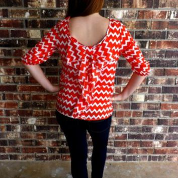 Red & White Bow Back Blouse