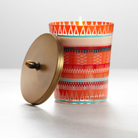 Large Tangerine Teakwood Boho Candle