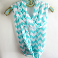 Tiffany blue Chevron infinity Scarf soft -Jersey knit-Back order