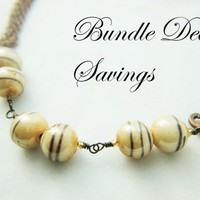 Bundle deal SAVINGS on Double Choc Twirl beaded necklace bracelet