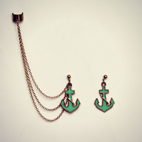 mint green anchor ear cuff earrings