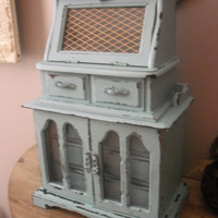 vintage upcycled AQUA Tiffany Blue Jewelry Box ... large Shabby chic Romantic cottage