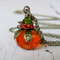 Pumpkin Necklace, Orange Bead Pumpkin Necklace, Fall, Autumn Jewelry