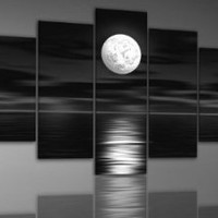 Santin Art - 100% Hand-painted Free Shipping Wood Framed on the Back Oil Wall Art Sea White Full Moon Night Home Decoration Abstract Landscape Oil Painting on Canvas 5pcs/set Mixorde