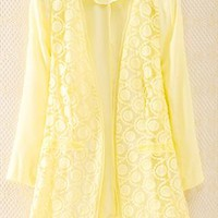 Lace Jacket for Women Yellow WDZ567