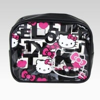 Hello Kitty Large Cosmetic Pouch: Black Quilt