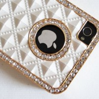 White Gold Luxury Luxurious Crystal Diamond Bling Rhinestone Protector Hard Skin Back Case Phone Cover for iPhone 4 4G 4S:Amazon:Cell Phones & Accessories