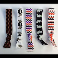 5 HALLOWEEN Yoga Elastic Hair Ties BATS CHEVRON GHOSTS Print Trick or Treat Gift