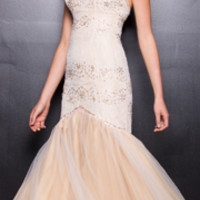 2013 Prom Dresses - Ivory & Gold Strapless Mermaid Gown - Unique Vintage - Prom dresses, retro dresses, retro swimsuits.