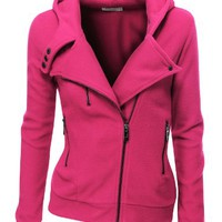 Doublju Fleece Zip-up Hoodie with Zipper Point
