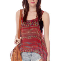 Two on One Aztec Tank Top in Red Multi :: tobi