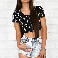 Cross Print Crop Top