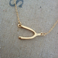 Sideways Wishbone Charm Necklace Make a Wish by ThreeBirdNest