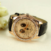 On Sale Cute Cat Face Rhinestone-studded Watch Free Shipping