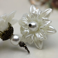 Vintage Style Large Pearlized Lucite Flower and Pearl Dangle Charm Drop Set - 2 Pieces