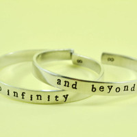 to infinity / and beyond  -  Hand Stamped Aluminum Cuff Bracelets Set, Newsprint Font, Forever Love, Friendship, BFF