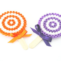 Lollipop candy hama beads brooch