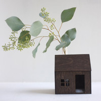 Little bud vase house  small wooden cabin in espresso with by 2of2