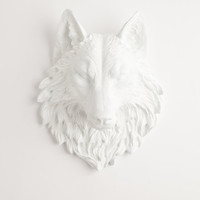 The Lincoln - White Resin Wolf Head- Resin White Faux Taxidermy- Chic & Trendy