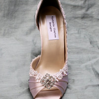 Wedding Shoes Low Heel-- Lace Wedding shoes-- The Corissa