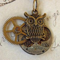 steampunk watch part and owl necklace by kristinstegent on Etsy