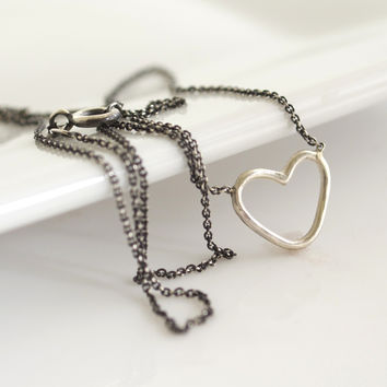 Silver Heart Layering Necklace