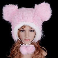 Pink Warm Plush Bear Pom Pom Hat from Hats by Camilla