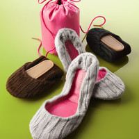 Cable-Knit Foldable Ballet Flats