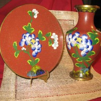 "CLOISONNE ANTIQUE RED SET OF2! SIGNED 9 "" VASE! FREE SHIPPING !"