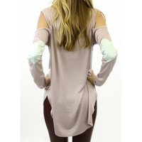 Sherwood Mocha Long Sleeve Heart Detail Top