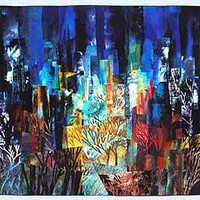 Central Park West Night IV: Linda Levin: Art Quilt - Artful Home