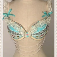 "34C Push Up Lace  Rave and Festival Bra   "" Vintage Romance"" ONE OF A KIND"