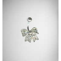 14 Gauge Silver Bling Bow Banana Belly Button Ring