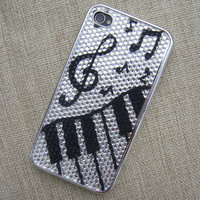 Black and White Music Notes Full Rhinestone Case for iPhone  from AsbestosAccessories