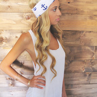 Turban Headband -- Anchor/Navy Blue