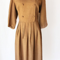 50s Dress / Brown Dress / Large Dress / Vintage Dresses