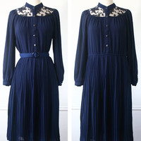 Vintage Dress Japanese// 70s Dress// Lacey Midnight Dress// Blue Lace Dress Japan s - m
