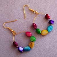 Hoop Earrings, Multicolor Beaded Earrings