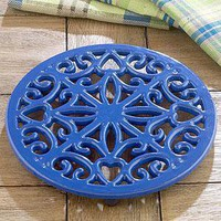 Blue Cast Iron Trivet