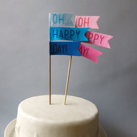 Ombre Pink or Blue Cake Topper - Oh Happy Day -  Weddings, Baby Showers, Bachelorette, Gender Reveal and Birthday Parties