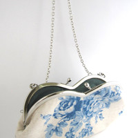 Cross body bag- sunglasses case blue rose