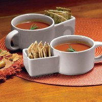 Set Of 2 Soup And Cracker Ceramic Mugs By Collections Etc:Amazon:Kitchen & Dining