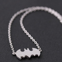 tiny bat necklace in silver plated by bythecoco on Etsy