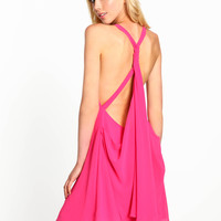 PINK CAPE KNOTTED DRESS