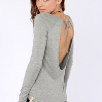 Rhythm My Scoop Long Sleeve Grey Top