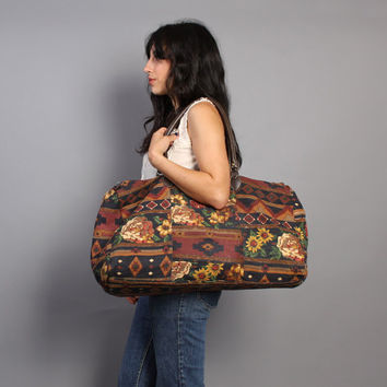 Vintage 80s WEEKENDER BAG / Huge SW Floral Tote