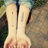 2 coloured temporary Tattoos Arrow & Feather  by Berlinroses