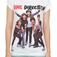 One Direction 1D Popular Boy Band New White Teen Women Music T-Shirt